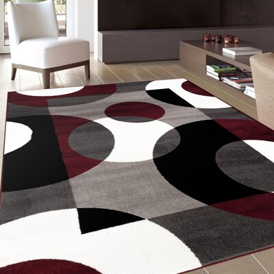 Allison Burgundy Area Rug Rug Size: Rectangle 53 x 73