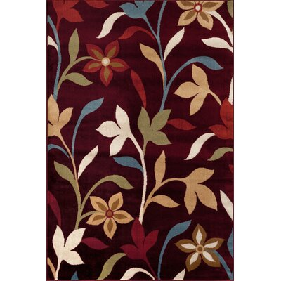Sharen Burgundy Area Rug Rug Size: 53 x 73