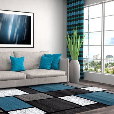Allison Blue/Gray Area Rug Rug Size: 53 x 73