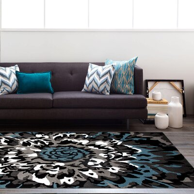 Allison Modern Blue/Gray Area Rug Rug Size: 53 x 73