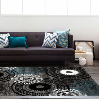 Waconia Gray/Blue Area Rug Rug Size: 33 x 53