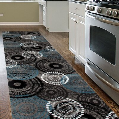 Allison Gray/Blue Area Rug Rug Size: Runner 2 x 72