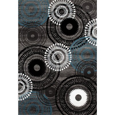 Allison Gray/Blue Area Rug Rug Size: 53 x 73