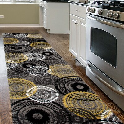 Waconia Yellow/Gray Area Rug Rug Size: Runner 2 x 72