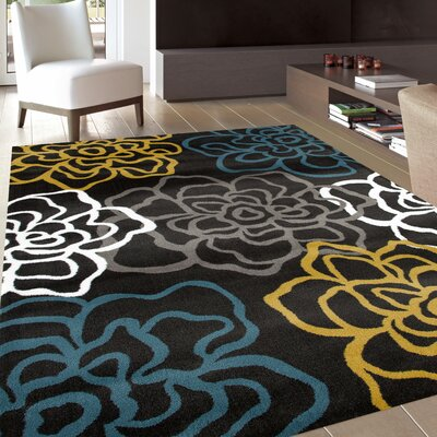 Sharen Yellow/Gray Area Rug Rug Size: 33 x 53