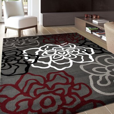 Sharen Red/Gray Area Rug Rug Size: 33 x 53