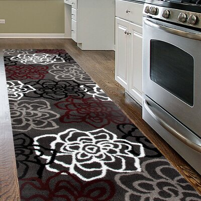 Waconia Red/Gray Area Rug Rug Size: Runner 2 x 72