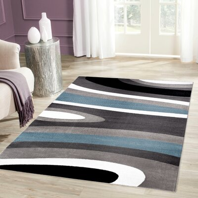 Alexandrea Blue Area Rug Rug Size: Rectangle 53 x 73