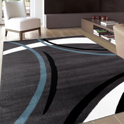 Allison Rectangle Gray Area Rug Rug Size: 53 x 73
