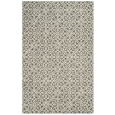 Mahoney Hand-Tufted Dark Gray/Ivory Area Rug Rug Size: 2 x 3