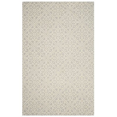 Ellicott Hand-Tufted Light Gray/Ivory Area Rug Rug Size: Square 6 x 6