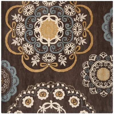 Matthews Brown Tufted Area Rug Rug Size: Square 7