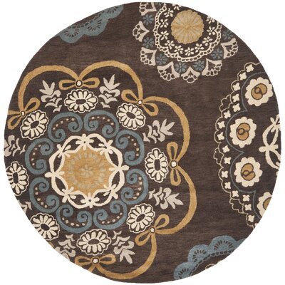 Matthews Brown Tufted Area Rug Rug Size: Round 7