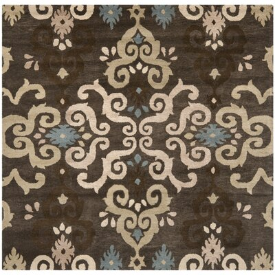Matthews Brown Florals Area Rug Rug Size: Square 7