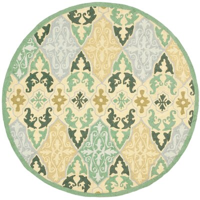 Erie Blue/Ivory Area Rug Rug Size: Round 56