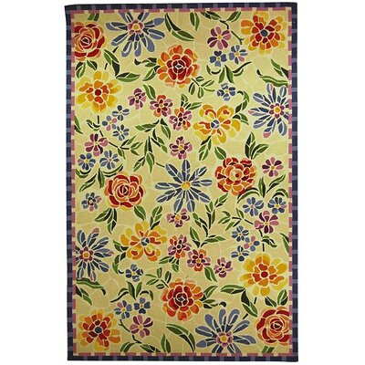 Bordeaux Hand-Hooked Wool Ivory/Yellow Area Rug Rug Size: Square 3