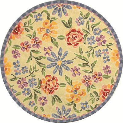 Bordeaux Butter / Blue Meadow Area Rug Rug Size: Round 4
