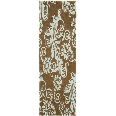 Arrowood Light Brown / Light Blue Contemporary Rug Rug Size: Runner 26 x 8