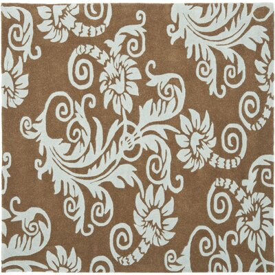 Armstrong Light Brown / Light Blue Contemporary Rug Rug Size: Square 6
