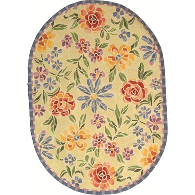 Bordeaux Hand-Hooked Wool Ivory/Yellow Area Rug Rug Size: Oval 46 x 66