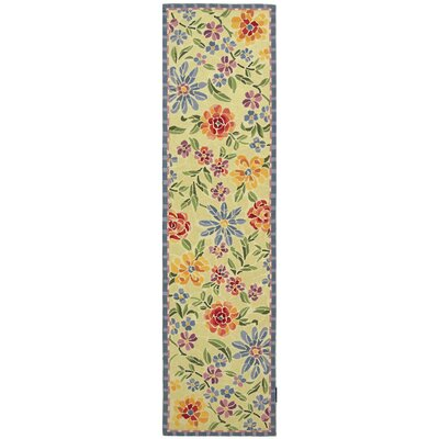 Bordeaux Hand-Hooked Wool Ivory/Yellow Area Rug Rug Size: Runner 26 x 10