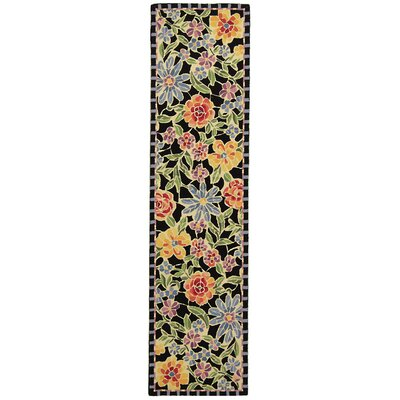 Erie Black / Green Meadow Area Rug Rug Size: Runner 26 x 12