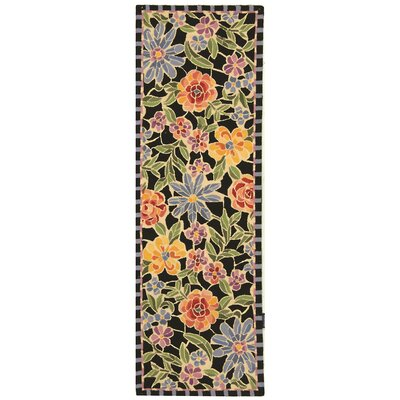 Bordeaux Black / Green Meadow Area Rug Rug Size: Runner 26 x 12