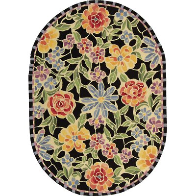 Bordeaux Black / Green Meadow Area Rug Rug Size: Oval 76 x 96