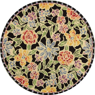 Bordeaux Black / Green Meadow Area Rug Rug Size: Round 4