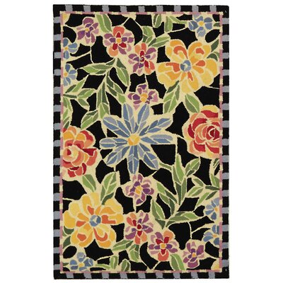 Bordeaux Black / Green Meadow Area Rug Rug Size: 39 x 59