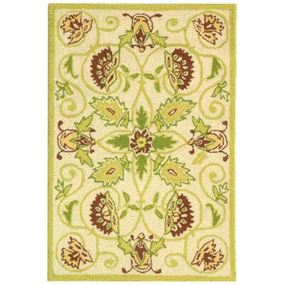 Erie Ivory / Green Area Rug Rug Size: Runner 26 x 6