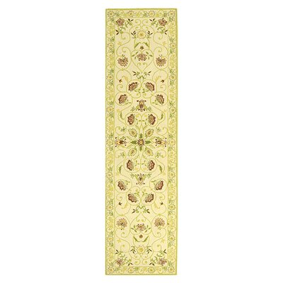 Martin Ivory / Green Area Rug Rug Size: Runner 26 x 10