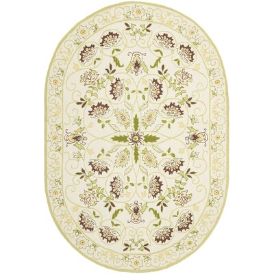 Martin Ivory / Green Area Rug Rug Size: Rectangle 18 x 26