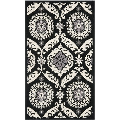 Martin Black/Ivory Rug Rug Size: 39 x 59