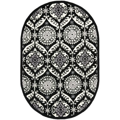 Nesbitt Black/Ivory Rug Rug Size: Rectangle 79 x 99