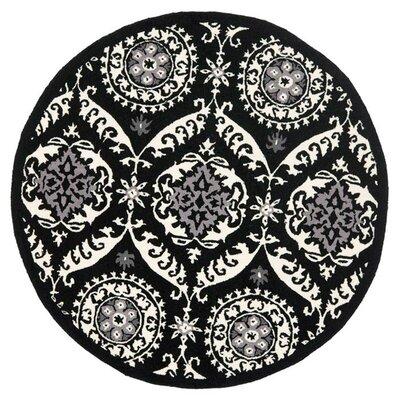 Nesbitt Black/Ivory Rug Rug Size: Round 8