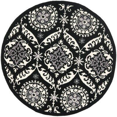 Nesbitt Black/Ivory Rug Rug Size: Round 4