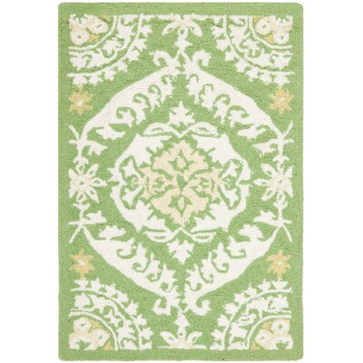Nesbitt Hand Hooked Green/Beige Area Rug Rug Size: Rectangle 79 x 99