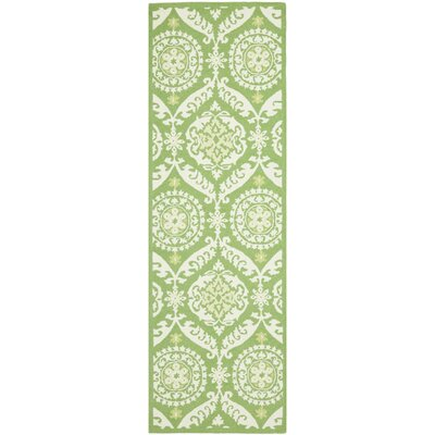 Erie Green / Beige Area Rug Rug Size: Runner 26 x 10
