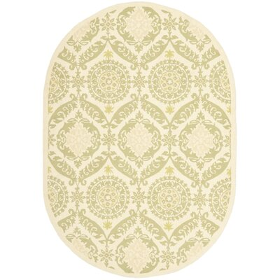 Erie Beige/Green Rug Rug Size: Oval 76 x 96