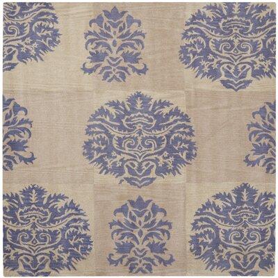 Matthews Beige/Lavender Area Rug Rug Size: Square 7