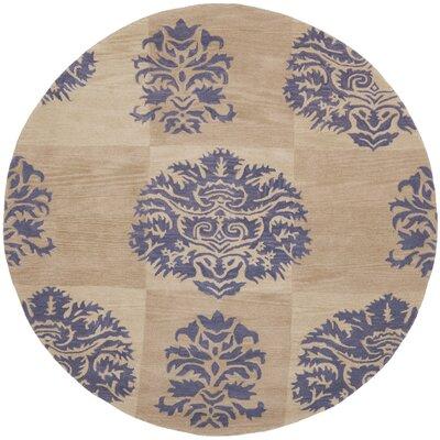 Matthews Beige/Lavender Area Rug Rug Size: Round 7