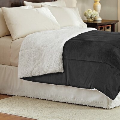 Wellesley Micromink Reverse To Sherpa Comforter Size: Full/Queen, Color: Black