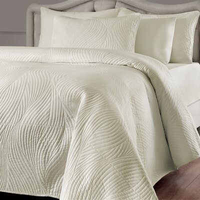 Stream Quilt Set Color: Ivory, Size: Full/Queen