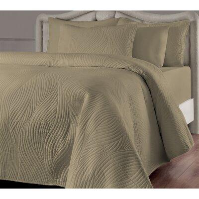 Stream Quilt Set Color: Linen, Size: Twin