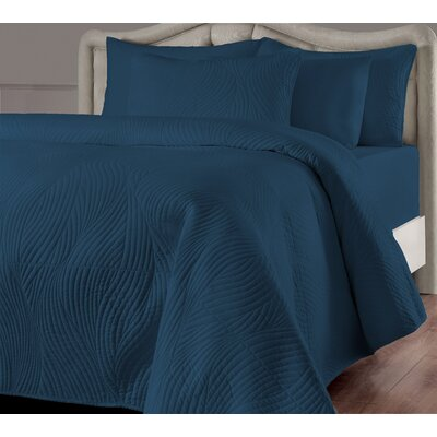Stream Quilt Set Size: Full/Queen, Color: Teal