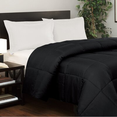 Westview Solid Microfiber Down Alternative Comforter Size: King, Color: Black