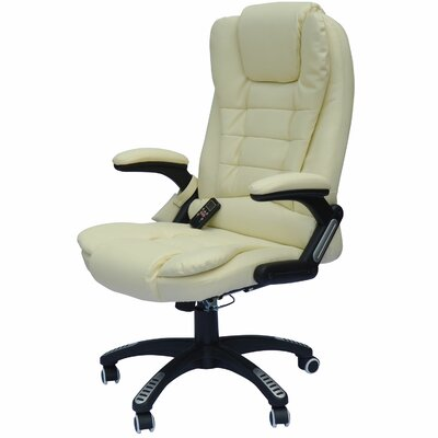 Whiting Faux Leather Heated Massage Chair Upholstery: Cream