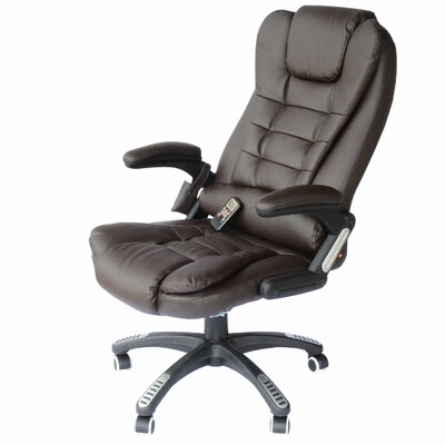 Whiting Faux Leather Heated Massage Chair Upholstery: Brown