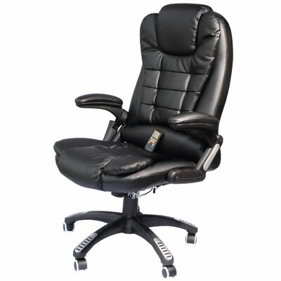 Whiting Faux Leather Heated Massage Chair Upholstery: Black
